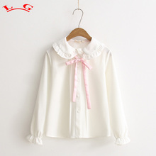 Sweet princess pink sash bow peter pan collar chiffon kawaii girl long sleeve blouse shirt 2017