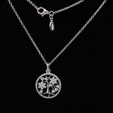 925 Sterling Silver Necklace Family Tree With Clear Cubic Zirconia Necklaces For Women fit Lady Fine Jewelry(China)