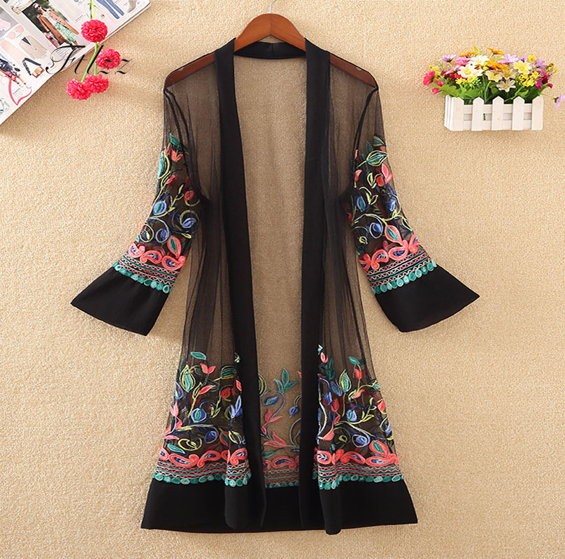 New Women Floral Embroidered Long Jacket Summer Net Cardigan Casual Long Sleeved Thin Coats Ladies Vintage Beach White Outerwear cardigan
