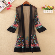 New Women Floral Embroidered Long Jacket Summer Net Cardigan