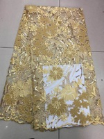 High Quality Saree African Lace Fabric Shiny Sequin French Lace Fabric New arrival in 2019 India Ultra thin lace fabric yellow