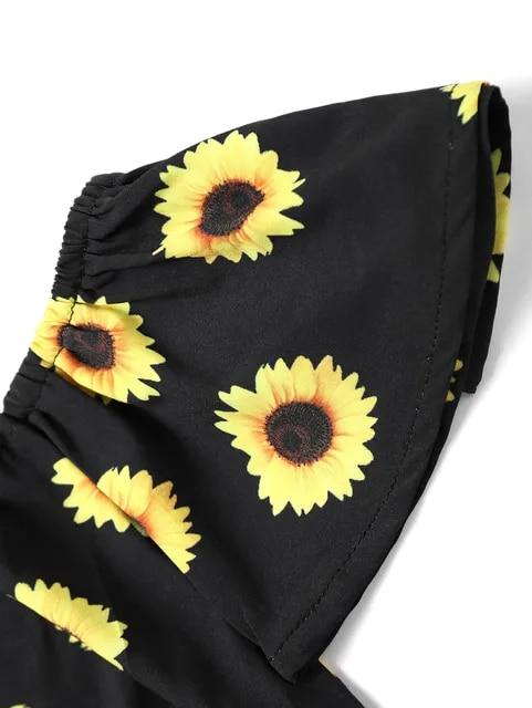 Vetement Femme 2019 Harajuku T-shirt Women Off Shoulder Sunflower Print T-shirt +Tassel Shorts Two-Piece Outfit Summer