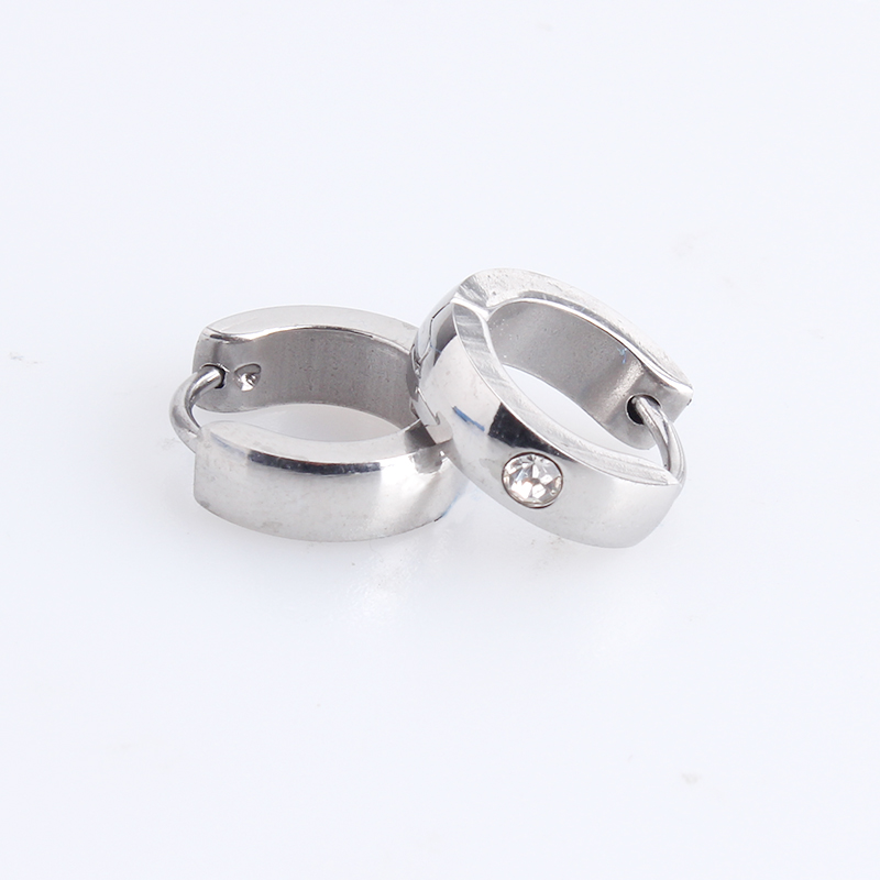 free shipping 4mm silver color Arc 316L Stainless Steel Stud Earrings for women men wholesale