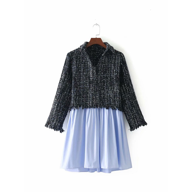 Spliced Femme Tweed cou Femmes Casual Longues Mode Tops Gland Plaid Manches Pull V Vintage Vestes Soie Za Casaco qTnw001tA