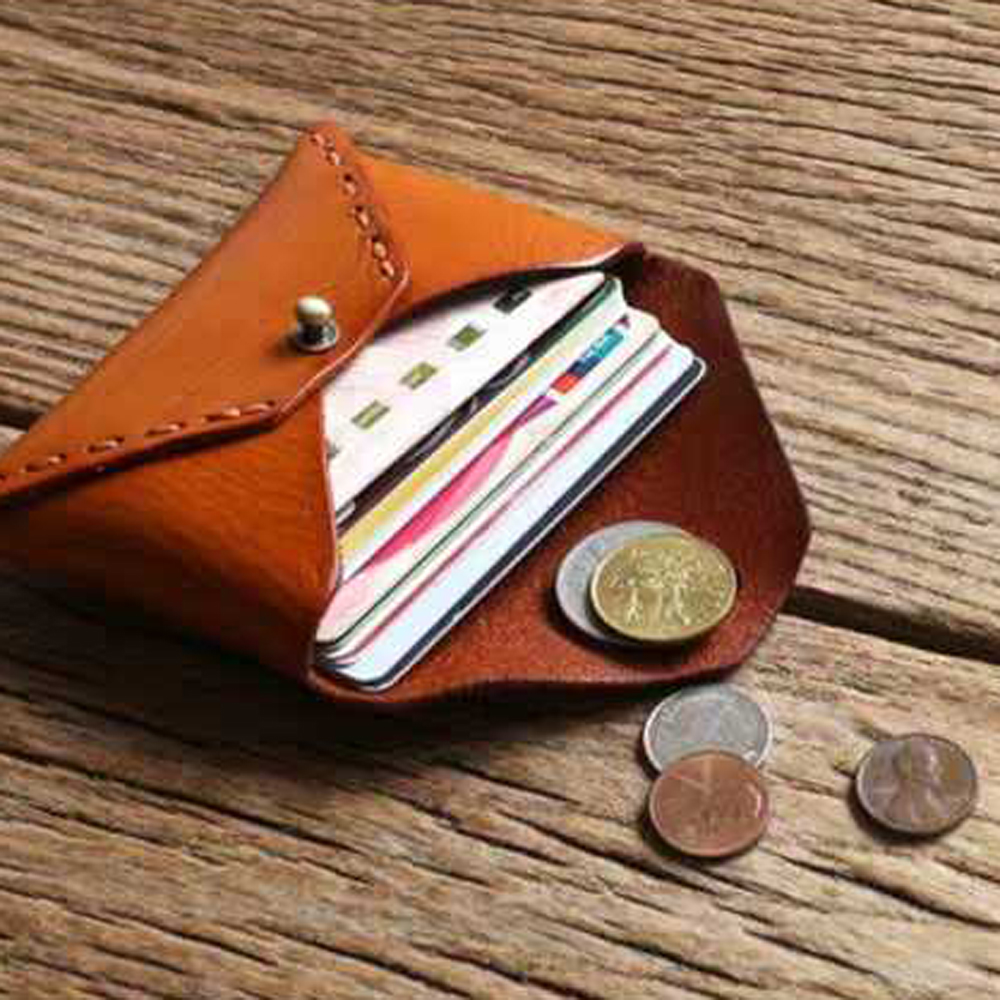 DIY Leather Craft Name Card Holder Small Coin Bag Wallet