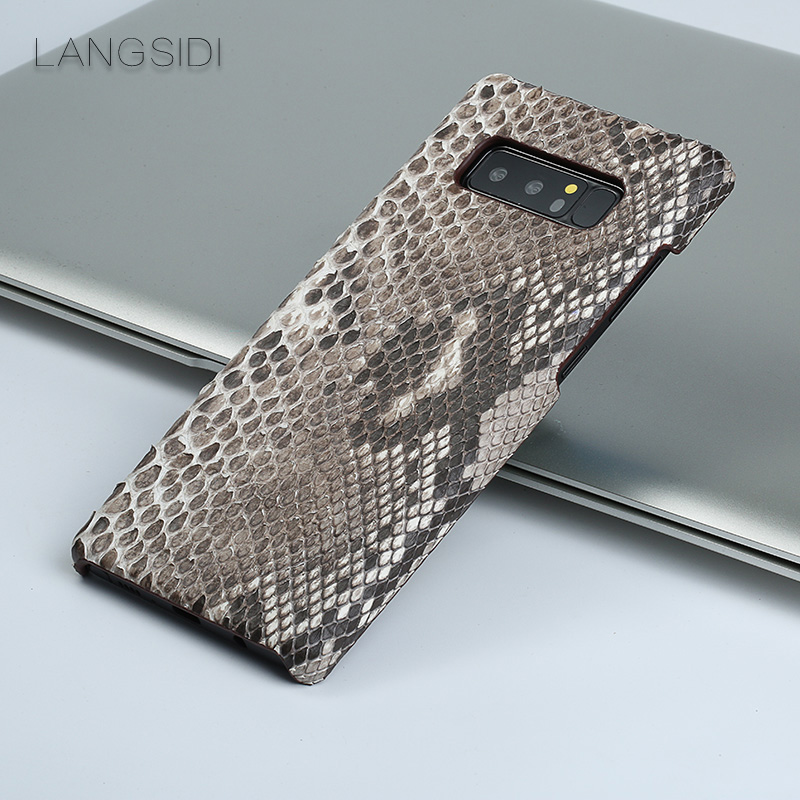 For Samsung Galaxy J7 J6 J5 Note 8 9 S6 S7 Edge S8 Plus luxury handmade leather python leather protective cover phone case