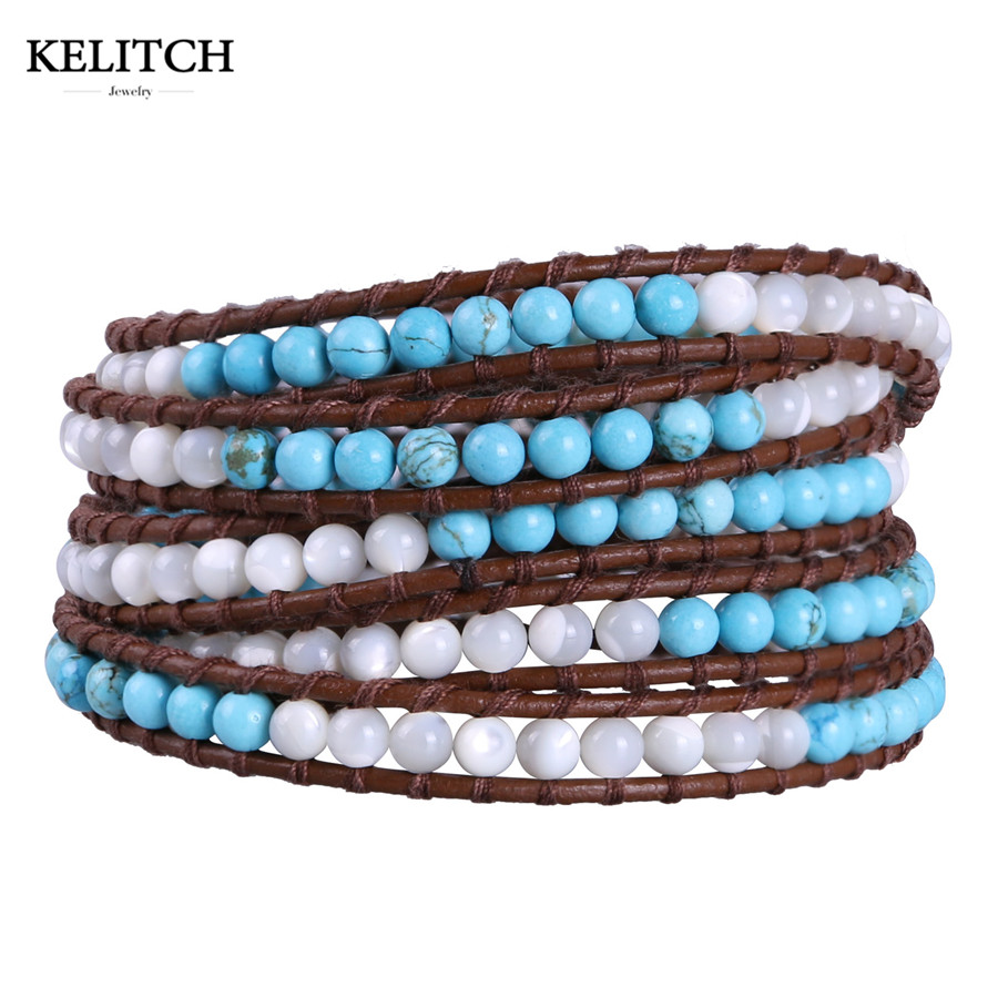 KELITCH Friendship Bracelet Jewelry 5 Wrap Leather Bracelets Natural Beaded Boho Strand Handmade Charm Cuff Bangle For Gifts