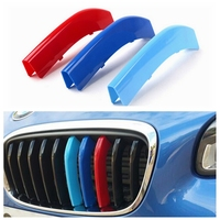 New 3D M Styling Car Front Grille Trim Sport Strips Cover Motorsport Power Performance Stickers For