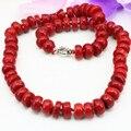 Mujeres declaración de moda collar de piedra de coral natural jasper 8*12mm cuentas del ábaco choker joyería de cadena de la alta calidad 20 pulgadas b3206