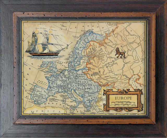 Vannodee Classical Decorative Wall Wood Frame Painting Old Maps ...