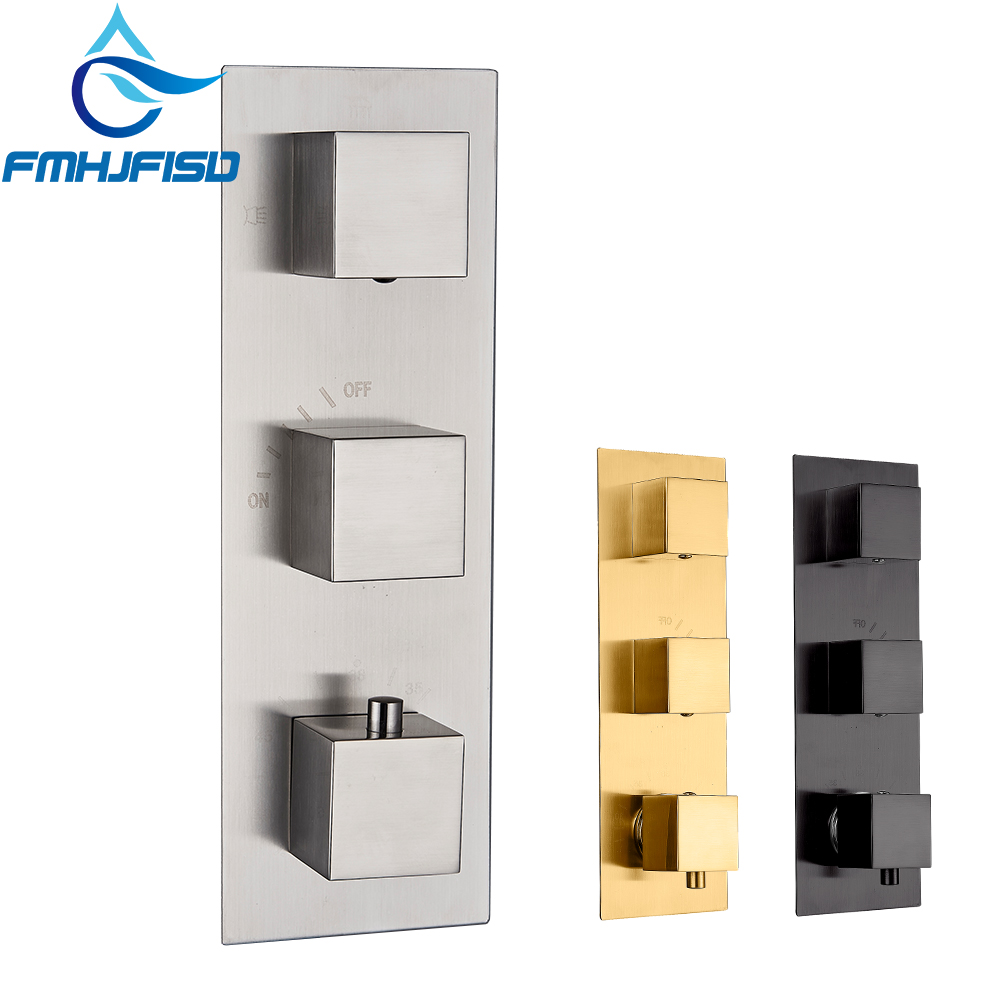 NEW 3 Ways Thermostatic Shower Faucet Control Valve Diverter Shower Valve Mixer 4 Ways Faucet Cartridge Valve new hot sale wall mounted square shower mixer faucet control valve diverter 3 ways shower valve