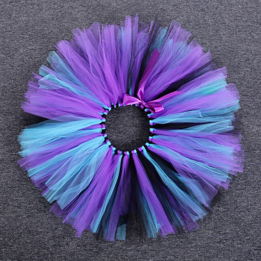 Rainbow Skirt Knee Length Nylon Mesh Tulle Skirt Kids Back to School Costume Happy Easter Party Tutu Skirt with Ribbon Bowknot (9)