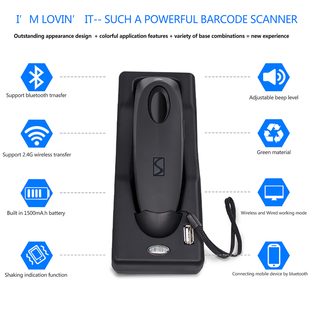 1D CCD Wireless Bluetooth Barcode Scanner,Symcode USB 2 4GHz Wireless  Bluetooth Barcode Reader with Charge Base