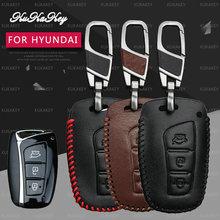 KUKAKEY Fob Remoto Inteligente Caso Chave Do Carro Para Hyundai IX45 Santa Fe Tucson Chaveiro De Couro Do Carro Chaveiro Chave Titular Bag Capa Shell