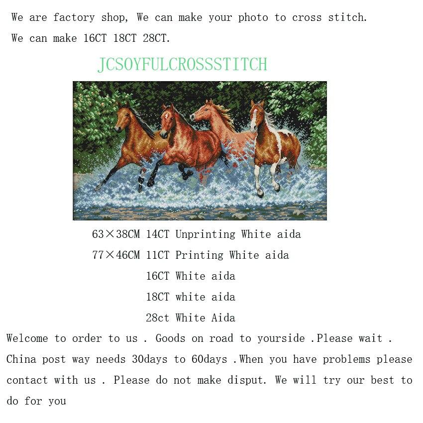 ⓪1th 16ct 18 28 11 14ct caballos patrón contado Cruz algodón Sets ...