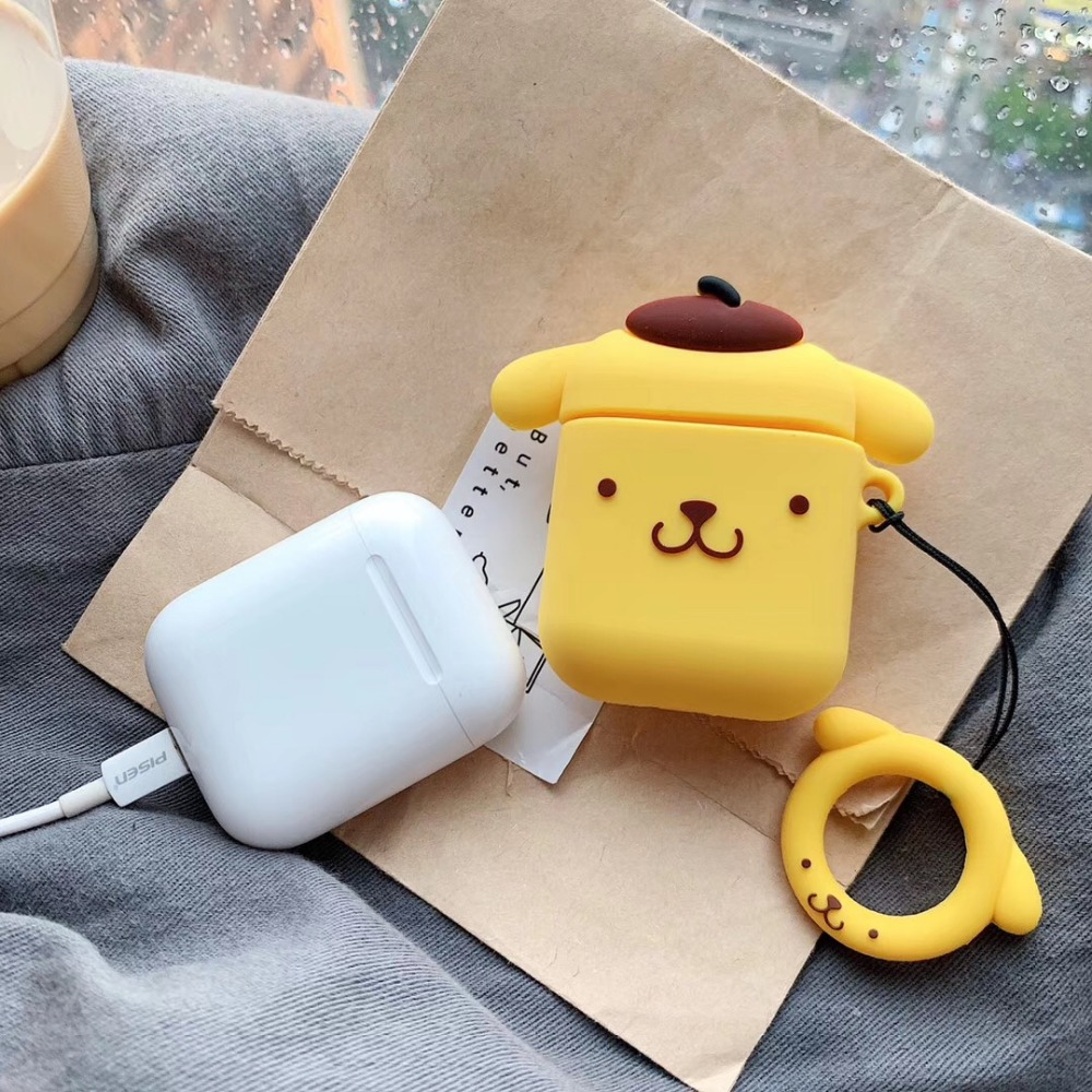 Newest Cute 3D Purin Gog Wireless Bluetooth Earphone Case For Apple AirPods 1 2 Silicone Headphones Protective Cases with ring in Earphone Accessories from Consumer Electronics