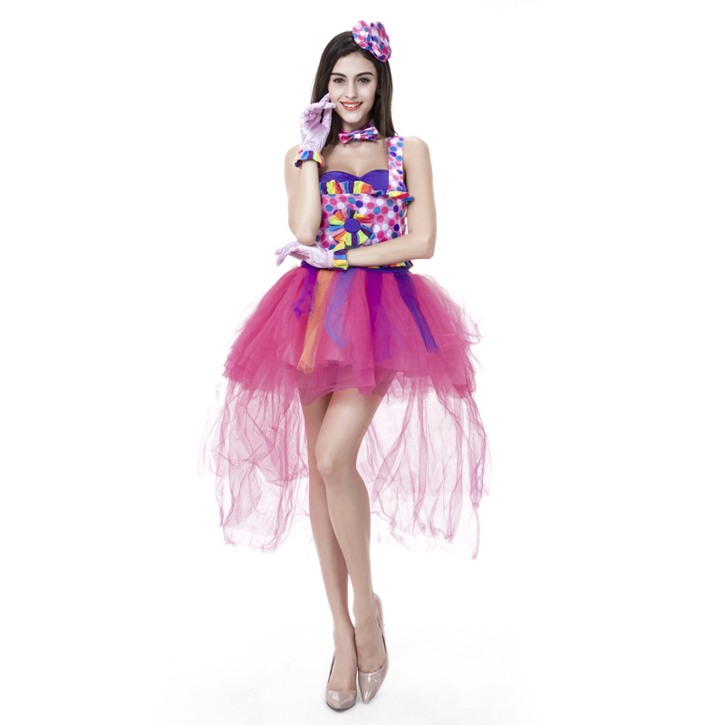 HOT Selling Classic Carnival Costumes Candy Color Clown Cosplay Dress up Fairy Halloween Clown Costumes For Women
