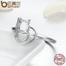 Little Cat & Heart Finger Ring for Women Sterling Silver Jewelry