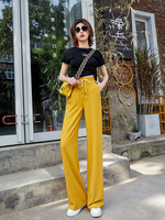 Yellow Palazzo Pants Women Summer Thin Chiffon Harajuku Korean Style Wide Leg Pants Plus Size 5XL Trousers Women Pantalon Femme