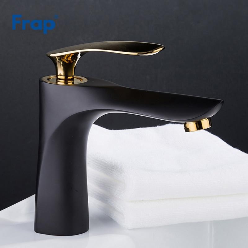 Frap Basin Faucet Bathroom gold handle Black body Faucet Painting Finish Basin Sink Tap Mixer Hot