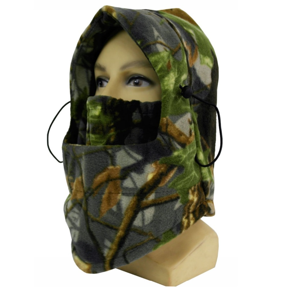 Camouflage Hunting Headgear Fishing Outdoor Mask Fleece Face Mask Thermal Fleece Hood Bicycle Wind-proof Hat Winter Neck Gaiter or fabric camouflage leaf headgear