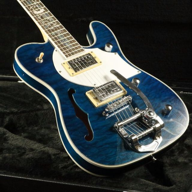 Quilted Maple Top Semi Hollow Body Electric Guitar T-01 Abalone Inlay Bigsby Bridge Blue Tele Free Shipping 2