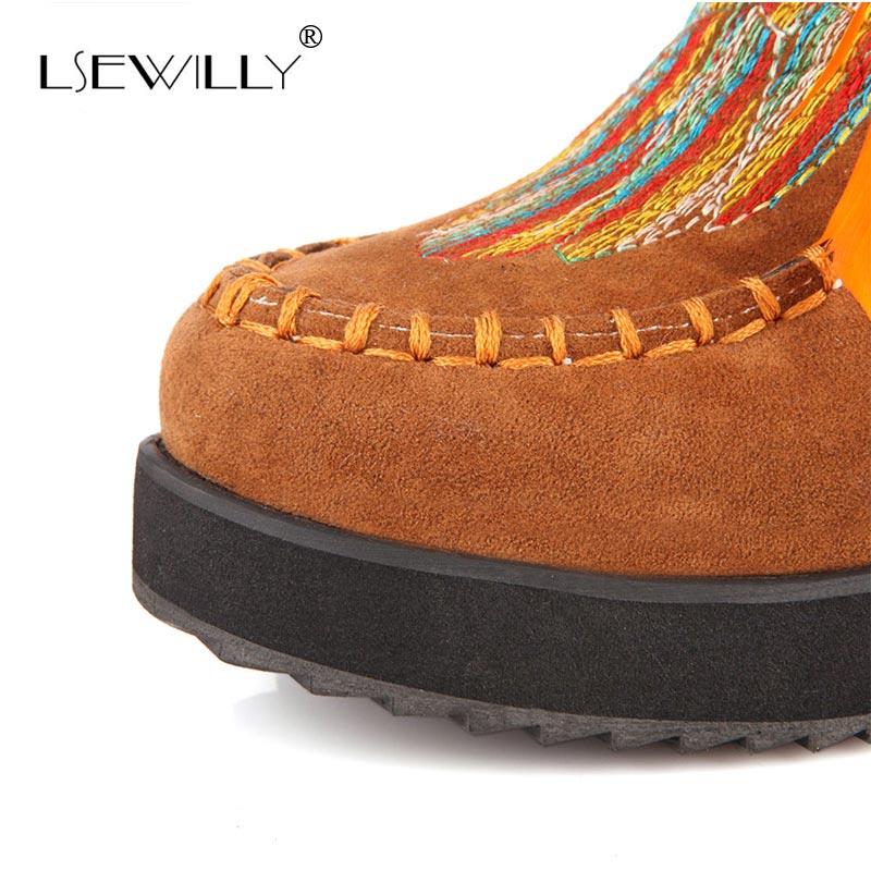 Glands 43 Taille Chaussures Cheville Indien Flock Lsewilly Style Aa555 Chunky Courtes Rétro Grande Femmes Fringe marron jaune Noir Plume Bottes 34 POna6z6x