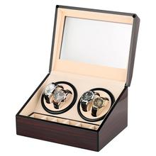 Double Watch Winder Automatic Watch Winder for 4 Wrist Watches Brown Mixed Material Luxury Clock Winder Battery remontoir montre цена