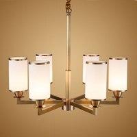 Современные реального Бронзовый Медь Люстра для Спальня Кухня Гостиная Стекло абажур потолок домашнего освещения BLC015