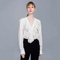 2019 spring new women blouse light mature wind embroidery lace solid color silk blouse long sleeve V neck cardigan shirt top L23