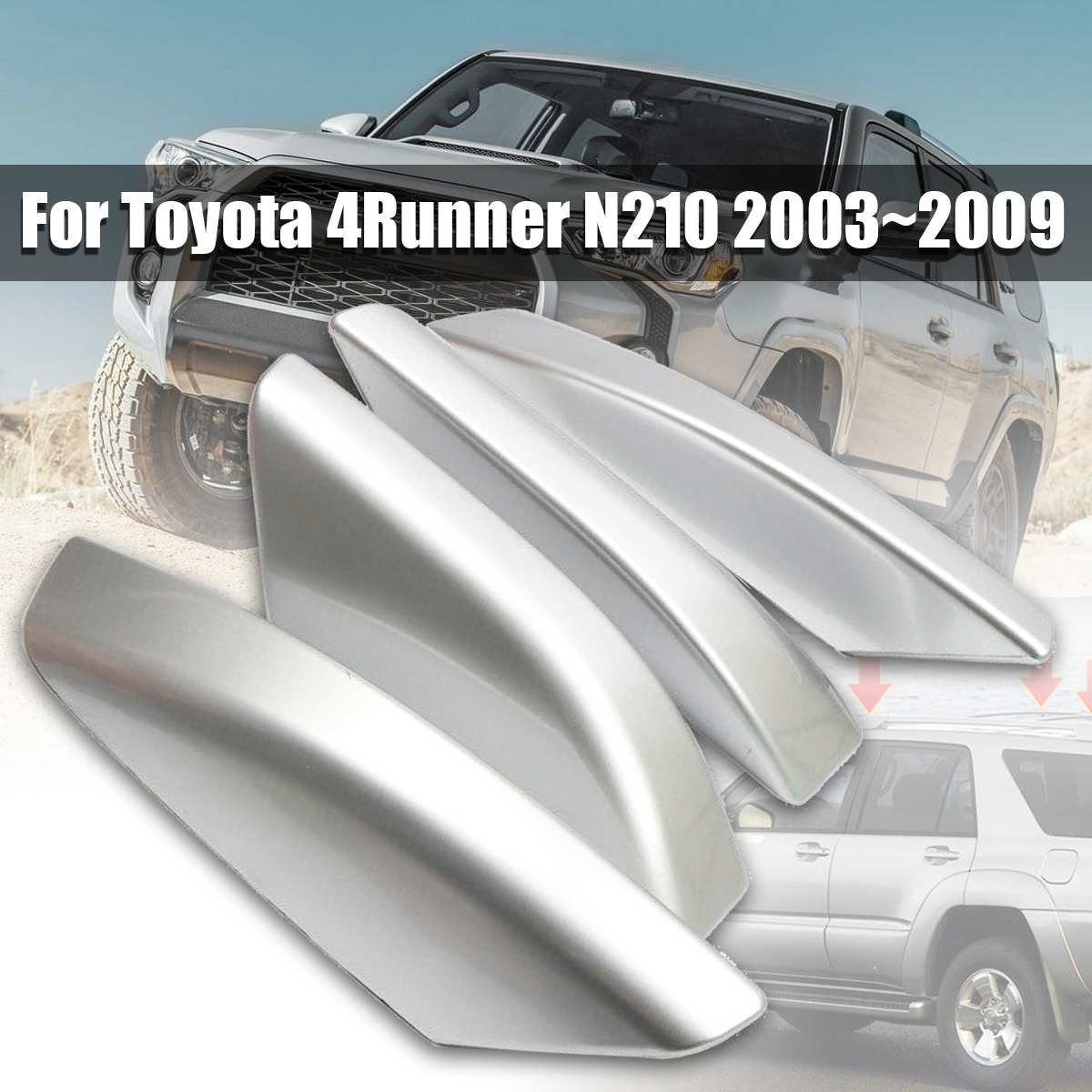 4PCS Silver ABS Plastic Roof Rack Bar Rail End Replacement Cover Shell For Toyota 4Runner N210 2003~20094PCS Silver ABS Plastic Roof Rack Bar Rail End Replacement Cover Shell For Toyota 4Runner N210 2003~2009