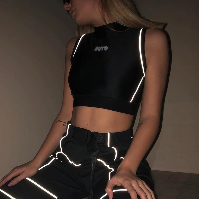 Sweetown Reflective Letter Printed   Tank     Top   Fitness Clothing Woman Fashion 2019 Sleeveless Sexy Push Up Summer   Top   Activewear