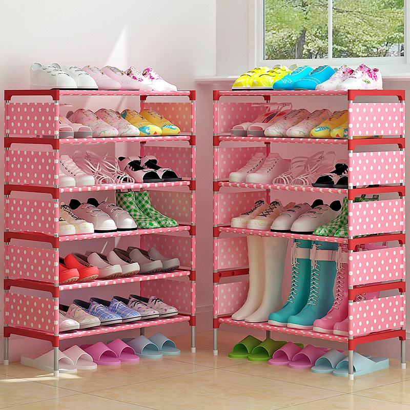 7 layers Simple Shoes Rack Easy to Install Steel Frame Folding Non-woven Shoes Shelf living room closet furniture Shoe Organizer shoe rack nonwovens steel pipe 4 layers shoe cabinet easy assembled shelf storage organizer stand holder living room furniture