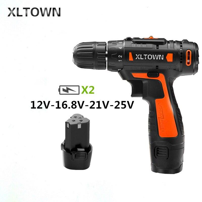 XLTOWN 12/16. 8/21/25 V Perceuse sans fil avec 2 batterie Batterie Au Lithium Rechargeable Multifonction Tournevis Électrique outils électriques