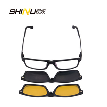 SHINU день и Ночное Видение красочные Рецепт Солнцезащитные очки Оптические рамки Новые магнитные клип на солнцезащитные очки с коробкой SH77003