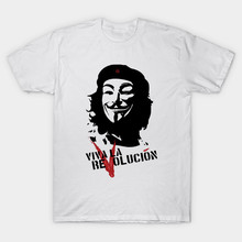 2017 Brand Newest Men V For Vendetta T-Shirt O-Neck Viva La Revolution Anonymous Guy Fawkes Print T Shirt Novelty Tees Cool Tops