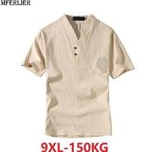 Tees Sleepwear Short Floral Linen Cotton V-Neck Loose 7XL Breathable Men Plus-Size Summer