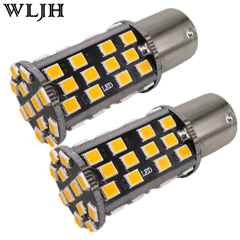 WLJH 2x Canbus White Red Amber Car Led Light 10W 2835 Led 60SMD 1157 7528 2357 Rear Tail Back Stop Brake Light Signal Lamp Bulb free shipping 2x 120 led car 3528 smd 1157 bay15d red dc 12v car stop brake lamp turn park tail light bulb