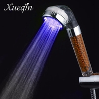Xueqin Free Shipping Water Saving Colorful LED Light Bath Showerhead Anion SPA Hand Held Bathroom Shower