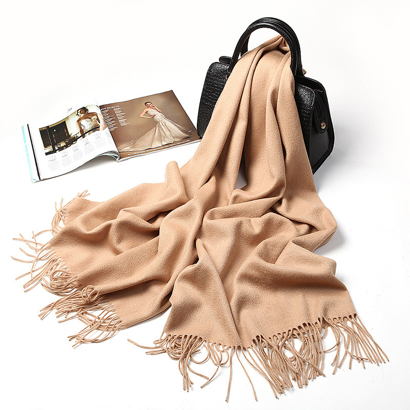 YM20070 Europe and United States100% Wool Scarf Autumn&Winter Thick Collar long Scarves Women Warm Cashmere Tassel Shawl image