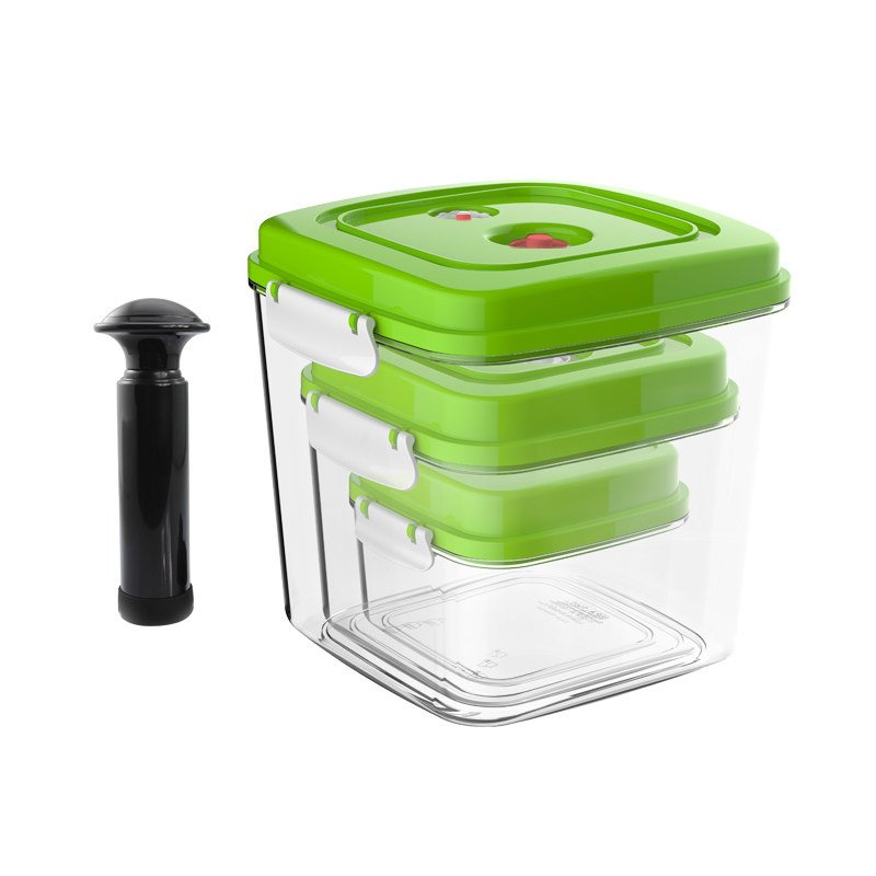 YTK Vacuum Container Large Capacity Food Saver Storage Square Plastic Containers With Pump Vacuum Sealer 500ML+1400ML+3000ML