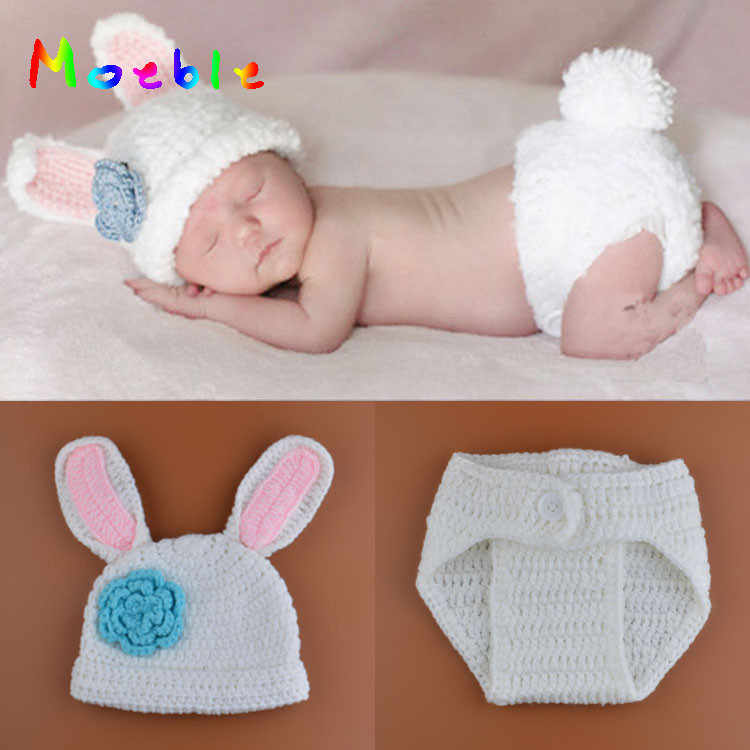 Lovely White Rabbit Newborn Baby Photography Props Knitted Baby Animal Hat Pants Set for Newborn Photo Shoot Baby Easter Costume