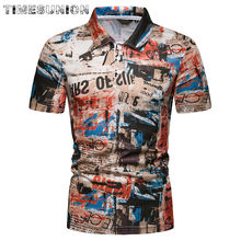 Camisas Polo 2019 New polo shirt men Retro Print Slim Fit Summer Short-sleeve Cotton polo homme de marque haute qualite(China)