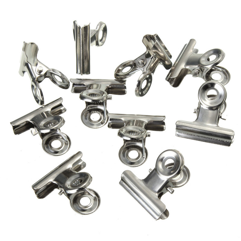 Kicute 10pcs Mini Bulldog Clips Stainless Steel Silver Metal Paper Letter Ticket Receipt Binder Grip Clips Clamp Office Supplies