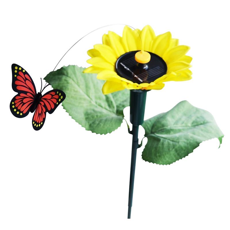 Solar Toy Sunflower With Butterfly Dancing Solar Battery On Garden Plugs Garden Lawn Pot Bed Decoration Ornament Color Random все цены