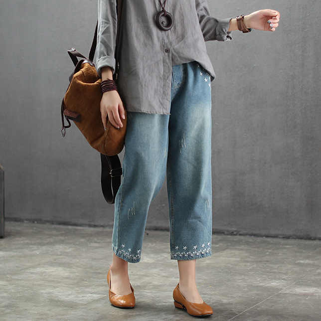 2019 נשים רקמת ג 'ינס אביב סתיו בציר שריטה פנטגרם מולבן נשי ישר באורך קרסול ג' ינס גאות רופף