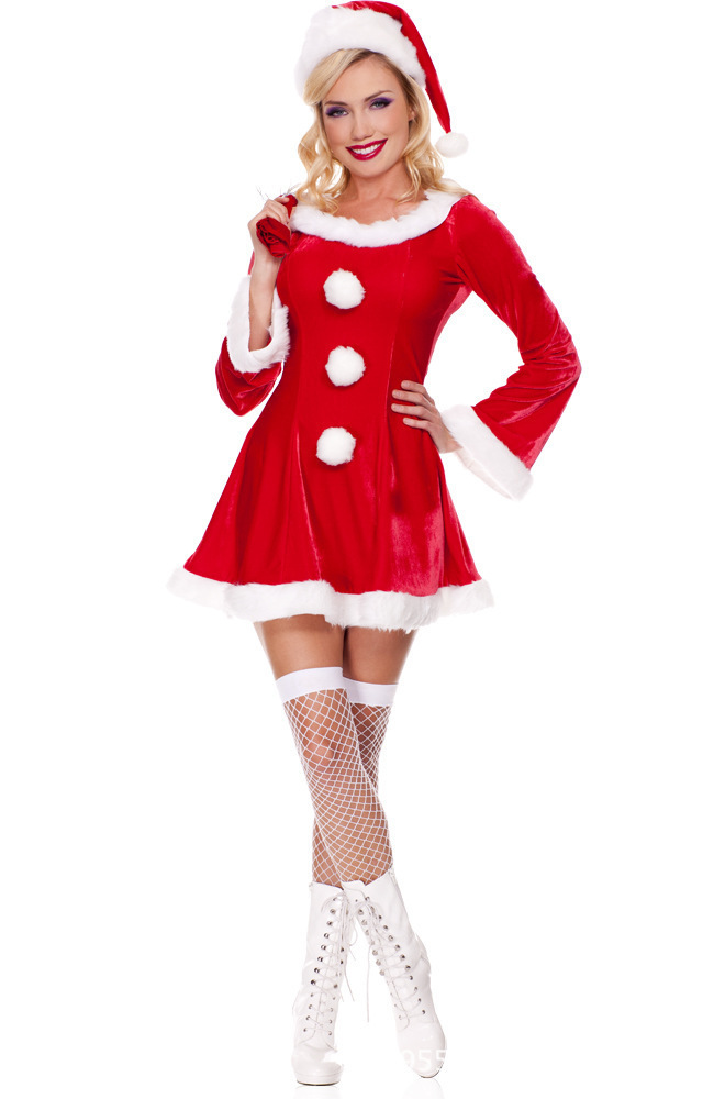 Christmas Halloween Cosplay Sexy Costume Snow White Santa Claus Cosplay Holiday Costume Party Girl Outfit Fancy Dress Women-In Holidays Costumes -2234