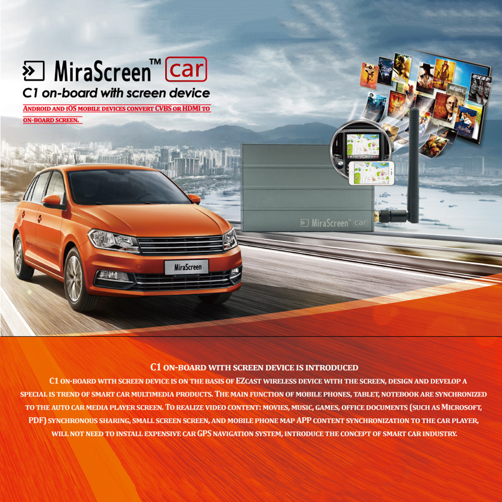 miracast dlna airplay cvbs exibição multimídia carro