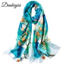 DANKEYISI, длинный шарф из чистого шелка, женский шарф, Шелковый платок, весна-осень, женские шелковые шарфы, с принтом, шелк тутового цвета, пляжные накидки