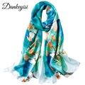 DANKEYISI, длинный шарф из чистого шелка, женский шарф, Шелковый платок, весна-осень, женские шелковые шарфы, с принтом, шелк тутового цвета, пляжные накидки - фото